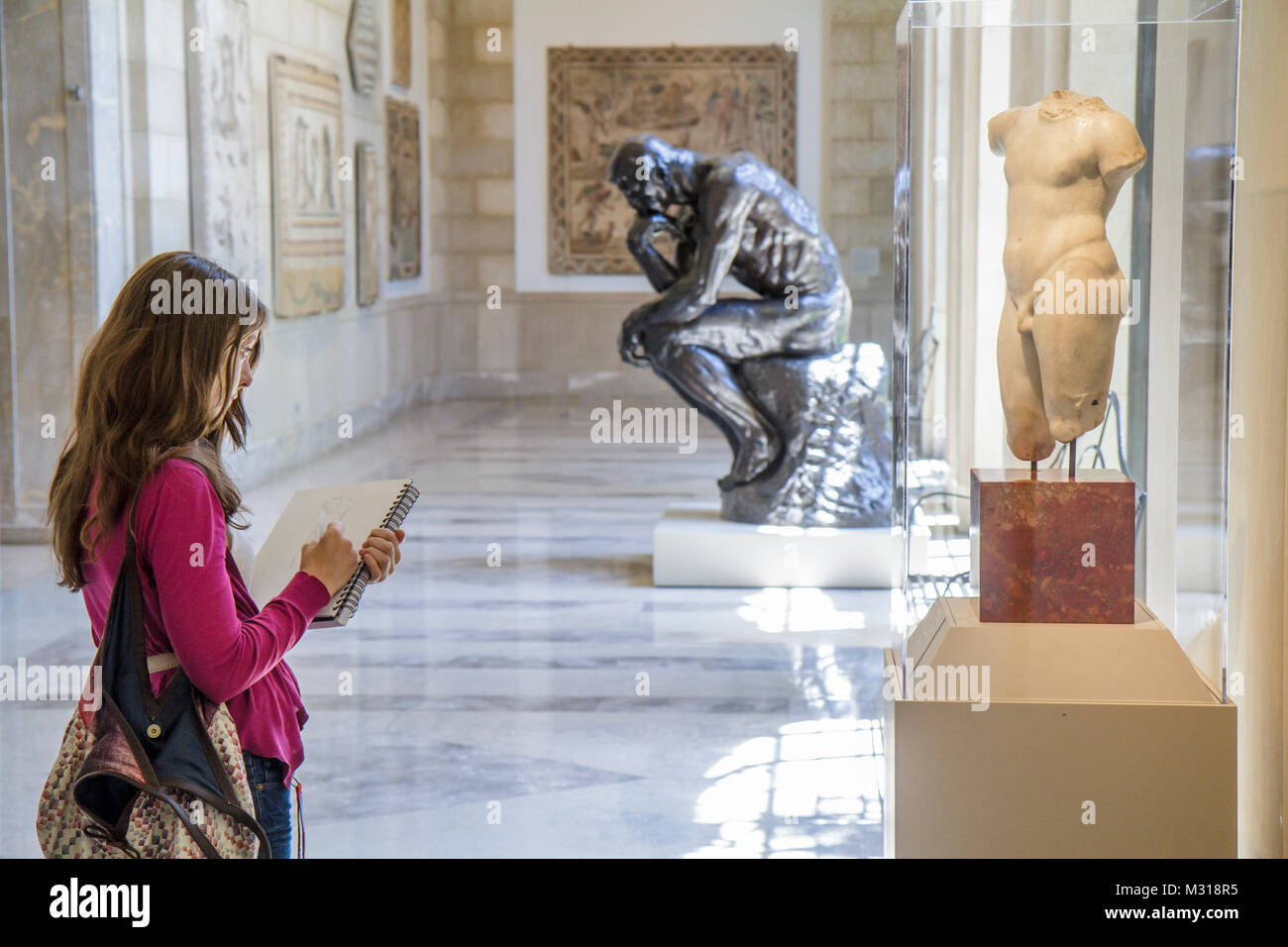 Baltimore Maryland Baltimore Museum of Art Wyman Park gallery exhibition collection sculpture Rodin Thinker torso - Stock Image