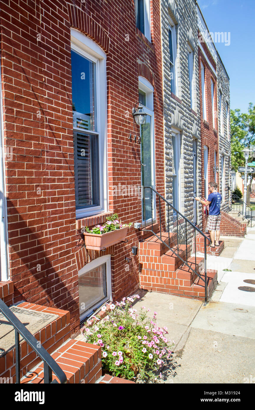 Baltimore Maryland Federal Hill historic neighborhood townhouse row house townhome townhouse red brick sidewalk door window flow & Baltimore Maryland Federal Hill historic neighborhood townhouse row ...