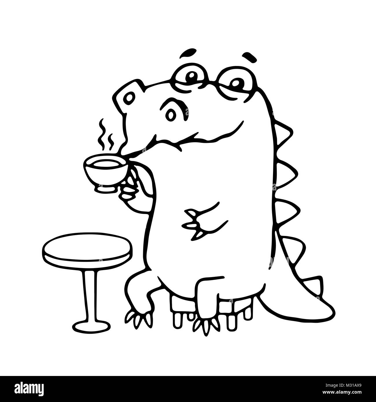 Cute dinosaur in cafe. Funny cartoon character. - Stock Image