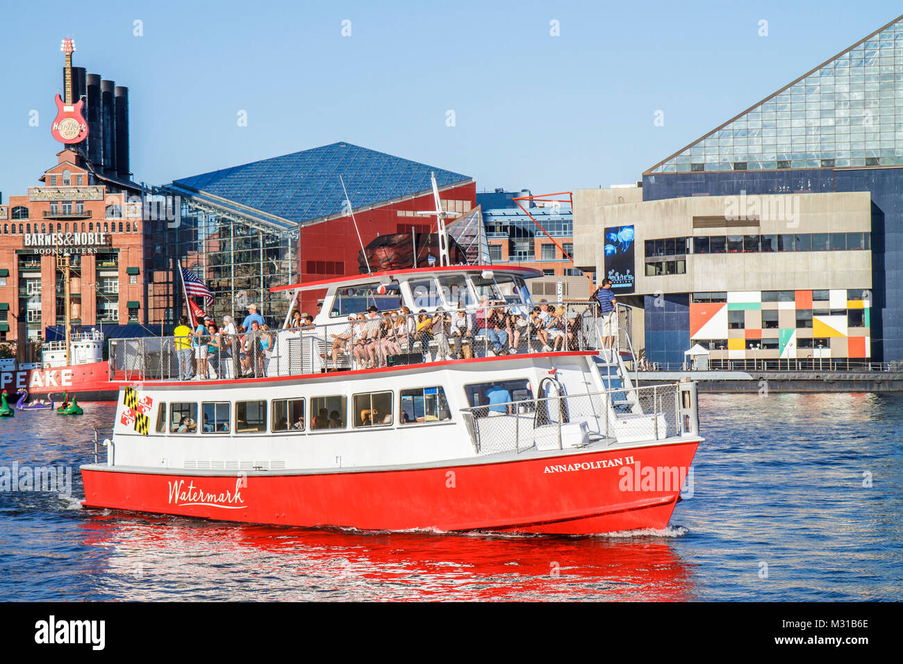 Baltimore Maryland Inner Harbor Harborplace Patapsco River waterfront National Aquarium Watermark Tours Cruises - Stock Image