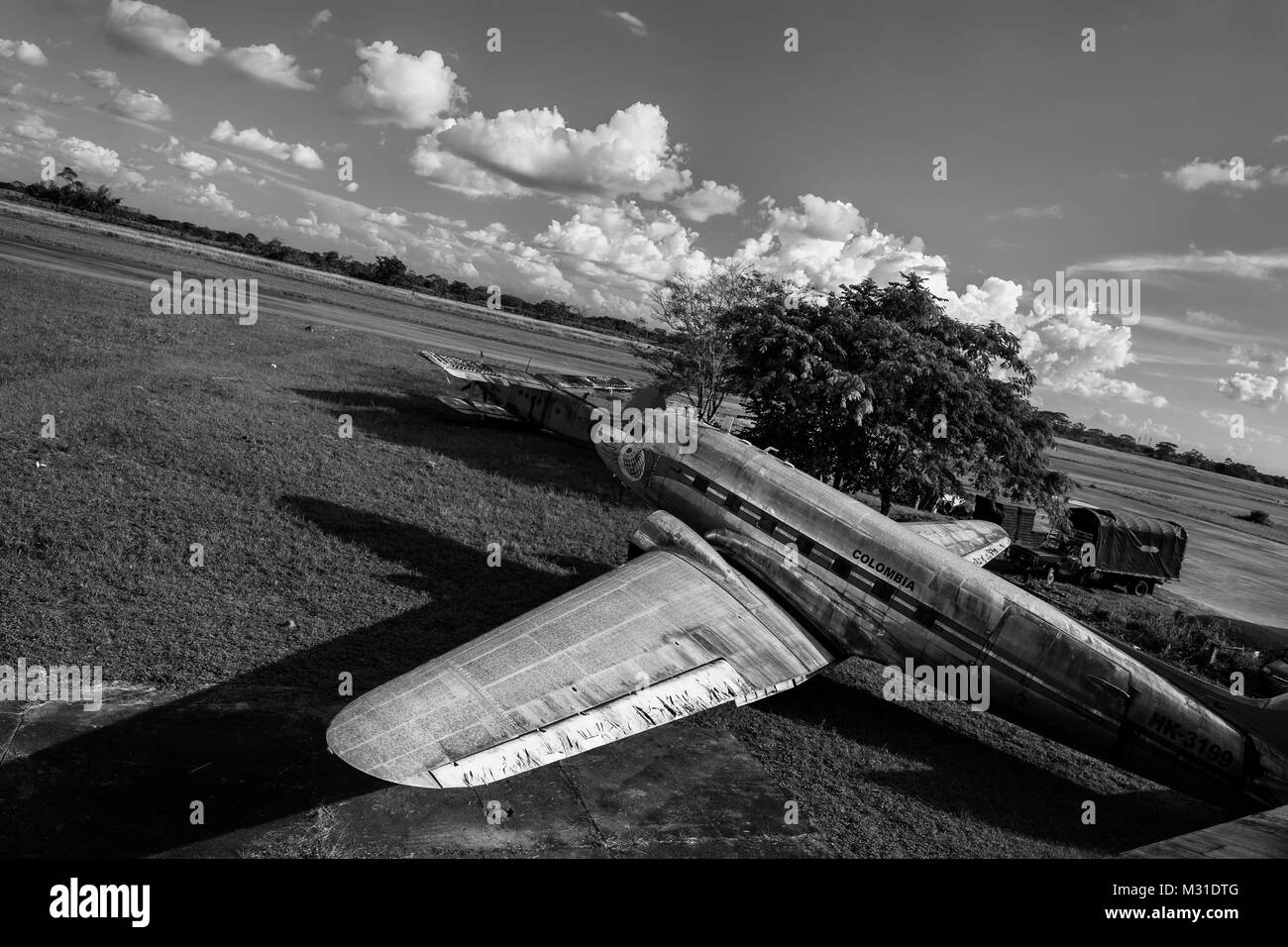 A retired Douglas DC-3 aircraft is seen parked at the airport of Villavicencio, Colombia. - Stock Image