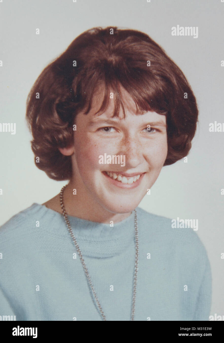 Vintage School Photo of Young Girl, United States - Stock Image