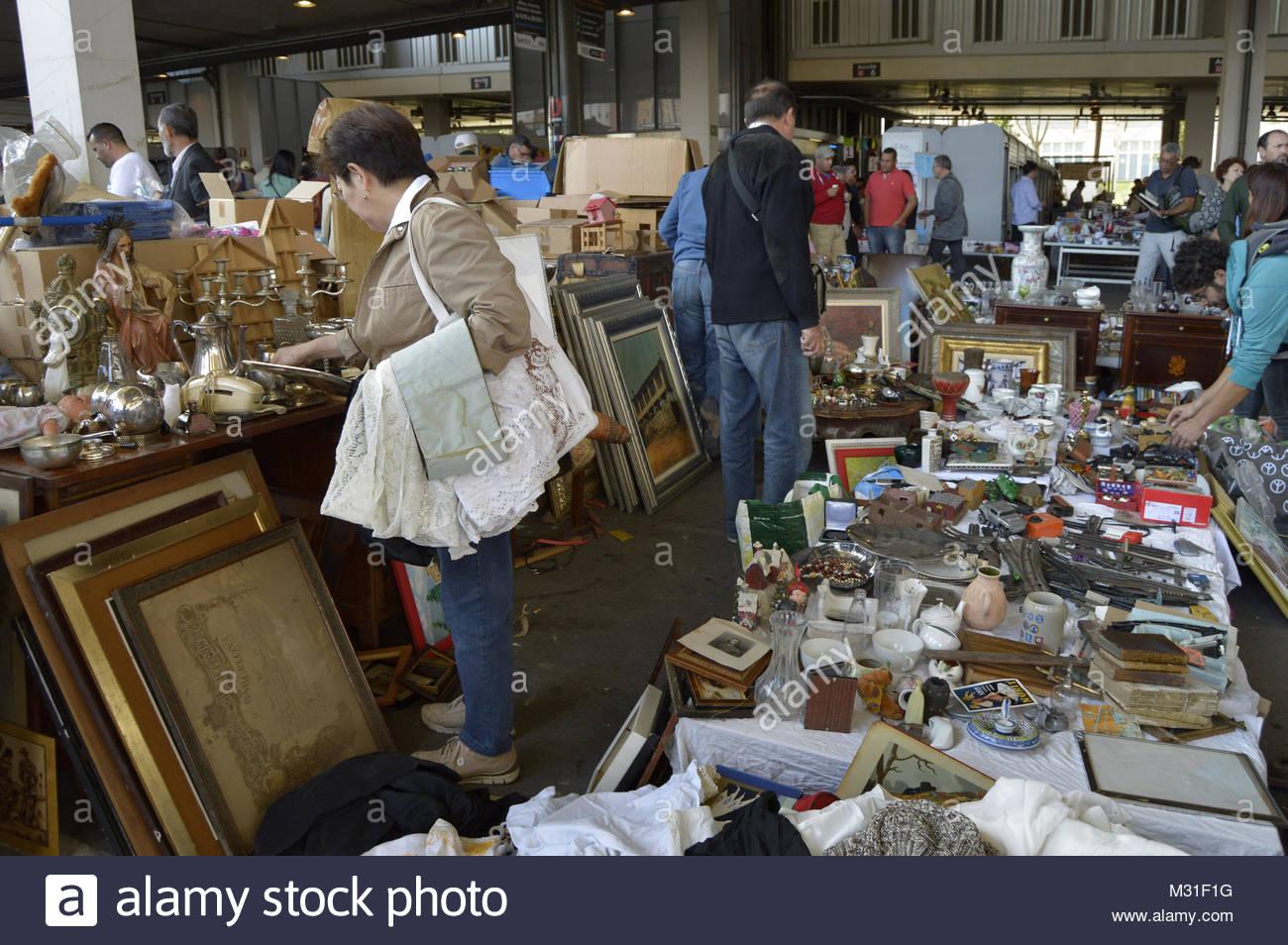 Mercat dels Encants flea market in Barcelona Spain Europe - Stock Image