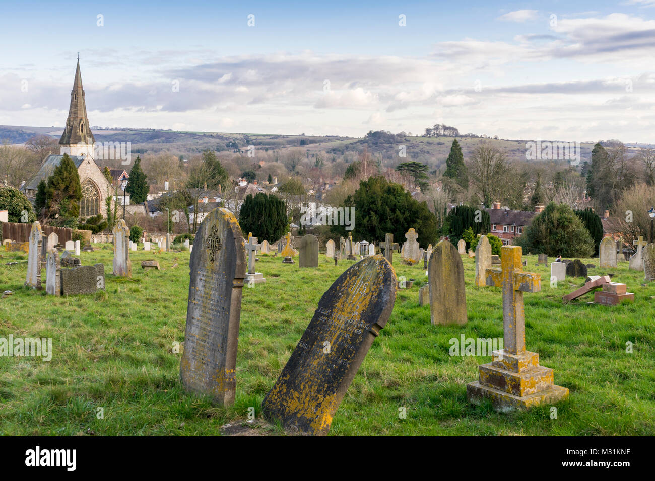 View over West Hill Cemetery with the Christ Church Centre in the background, St James Lane, Winchester, England, - Stock Image