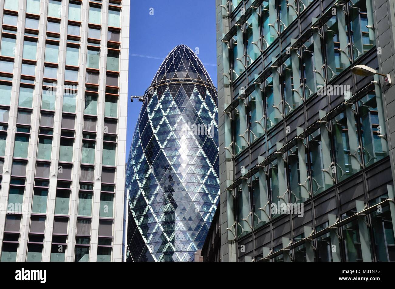 The Gherkin, St Mary Axe, London, England, UK - Stock Image