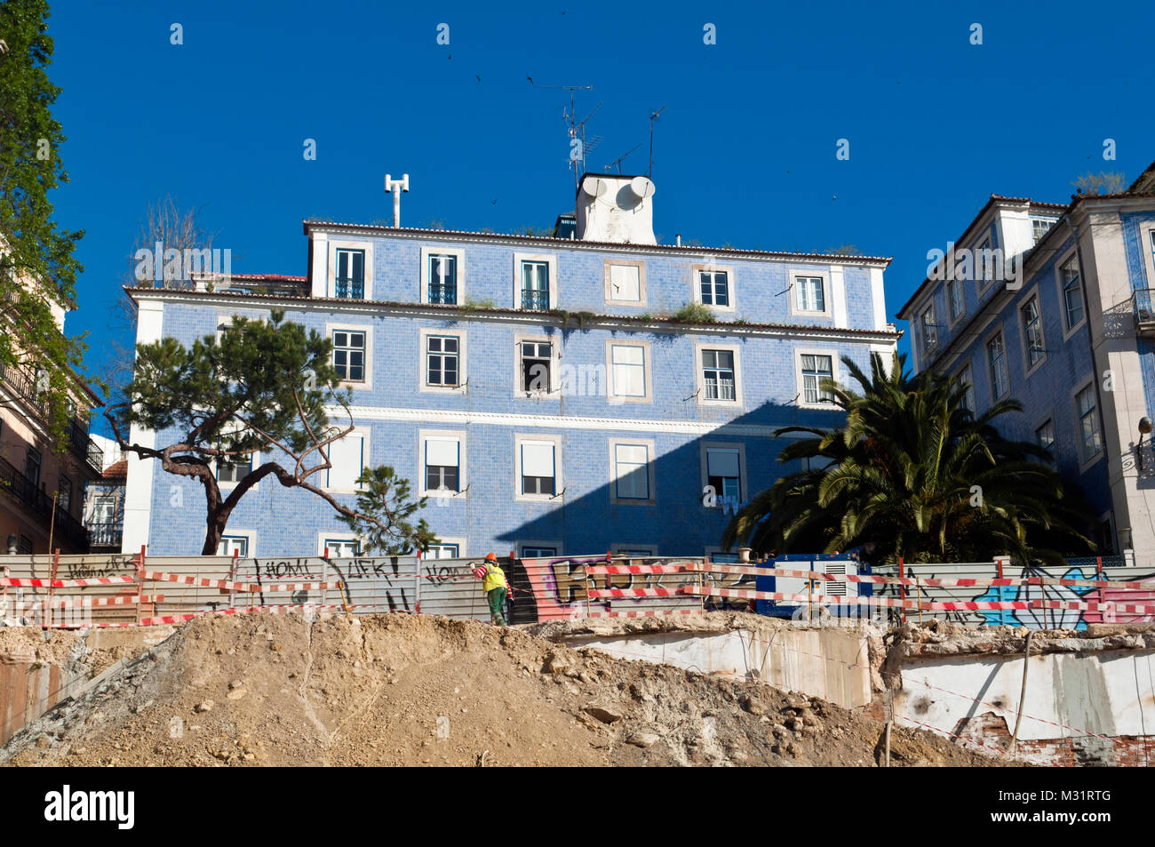Construction work. Lisbon, Portugal - Stock Image