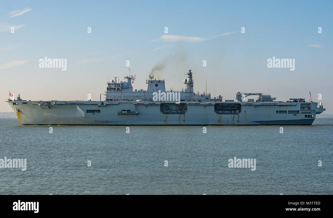 The British Royal Navy Helicopter Carrier, HMS Ocean departs Portsmouth, UK on 6/2/2018 after her final visit before - Stock Image