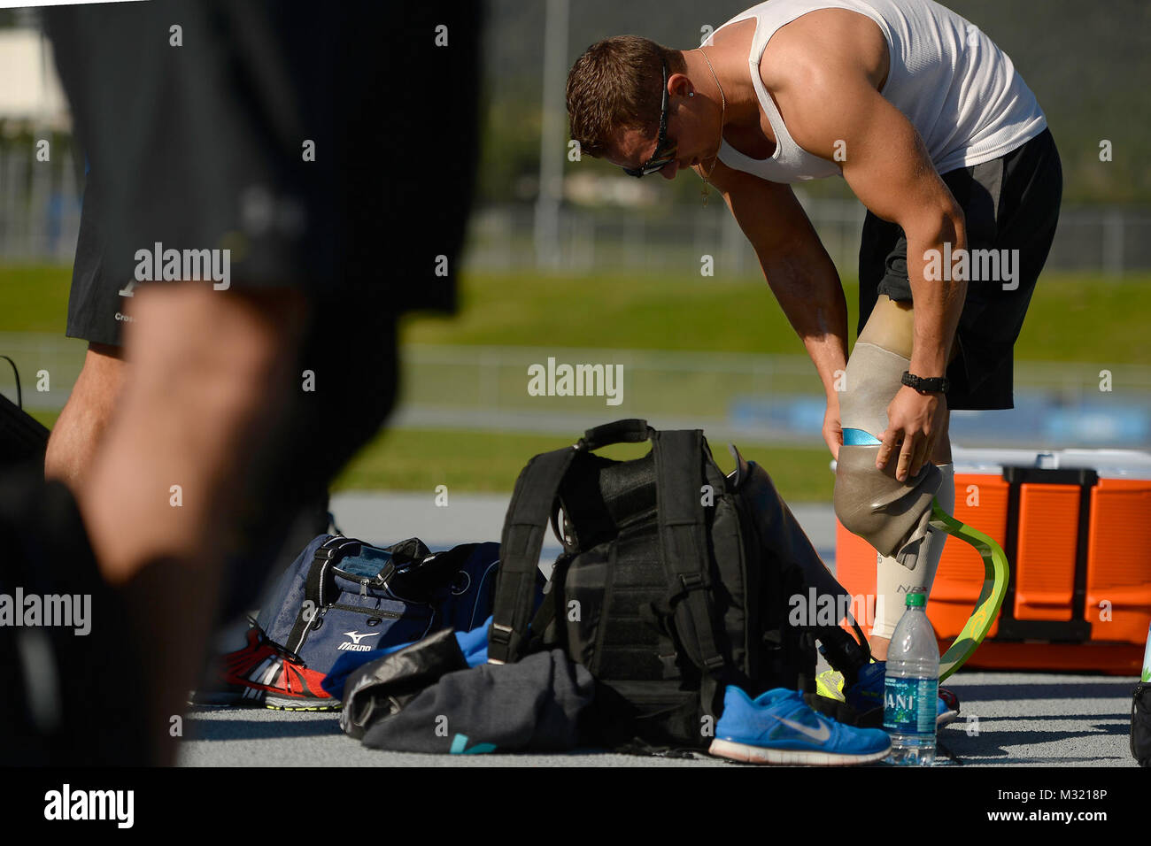 Gideon Connelly prepares for track and filed practice Aug. 3 2014 at the Air Force Academy, Colo. The Wounded Warrior - Stock Image