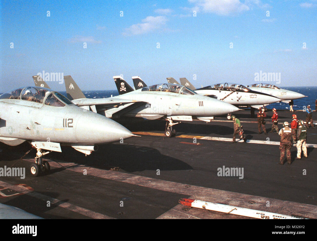 001021-N-2227W-002 ABOARD USS GEORGE WASHINGTON (Oct. 21, 2000) -- Members from the 'Jolly Rogers' of Fighter - Stock Image
