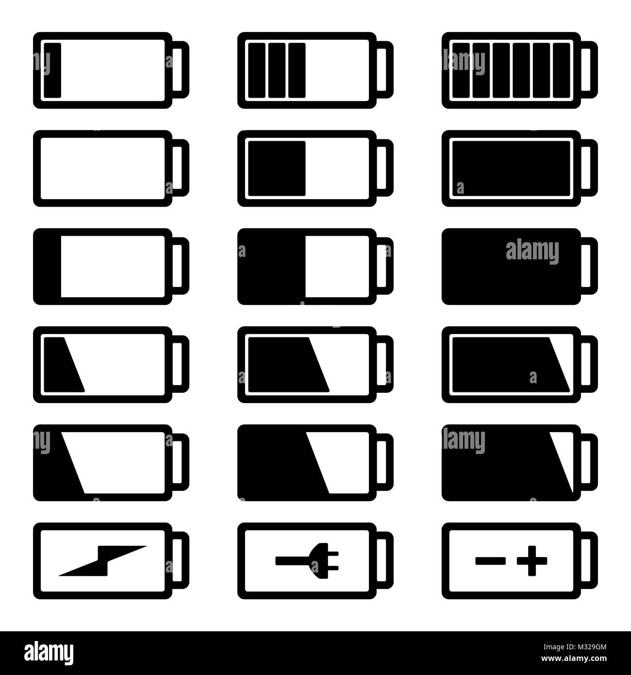 Battery flat black icon set vector illustration isolated on white background eps10. Symbols of battery charge level, - Stock Vector
