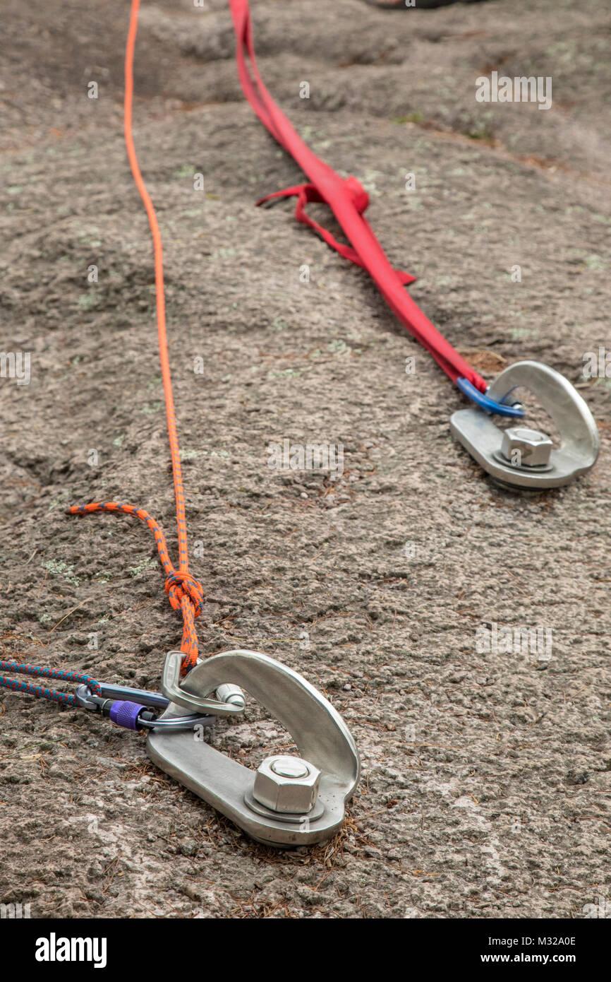 Silver Bay, Minnesota - Anchors for rock climbing ropes at Shovel ...