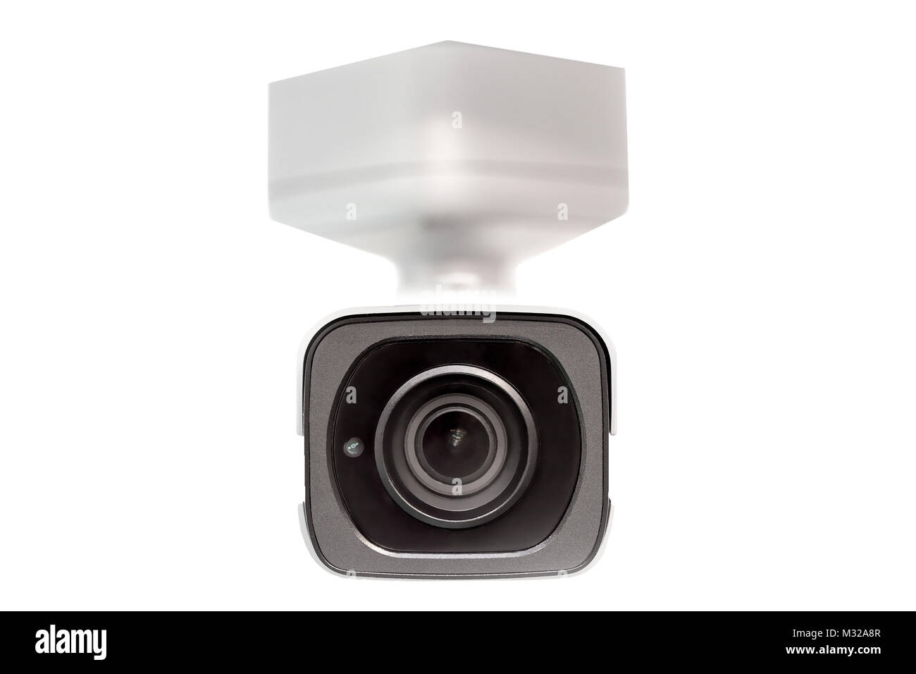 White surveillance  camera  .CCTV isolated on white. Front face lens view.  Close up. Under the dome concept. - Stock Image