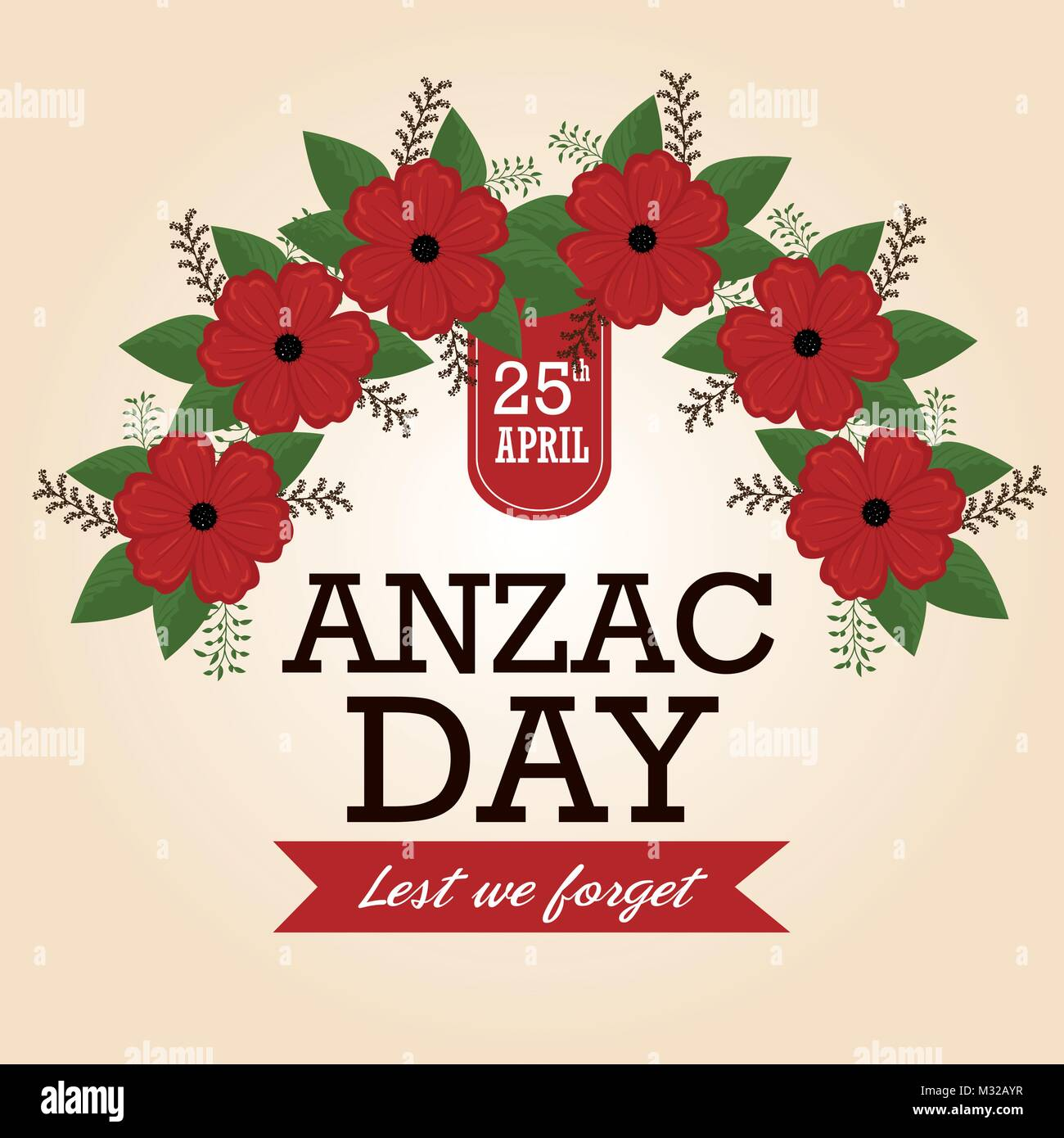 Anzac day poster with red poppy flower stock vector art anzac day poster with red poppy flower mightylinksfo