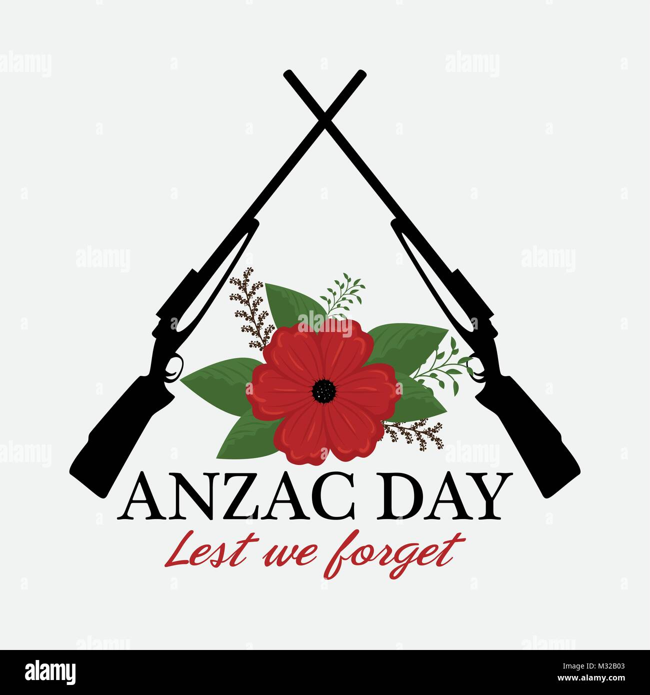 anzac day poster with red poppy flower - Stock Vector