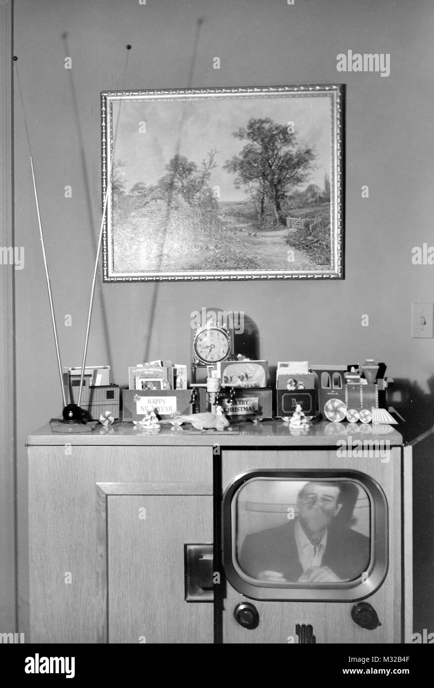 Still life of TV top in an American home in the 1950s. - Stock Image