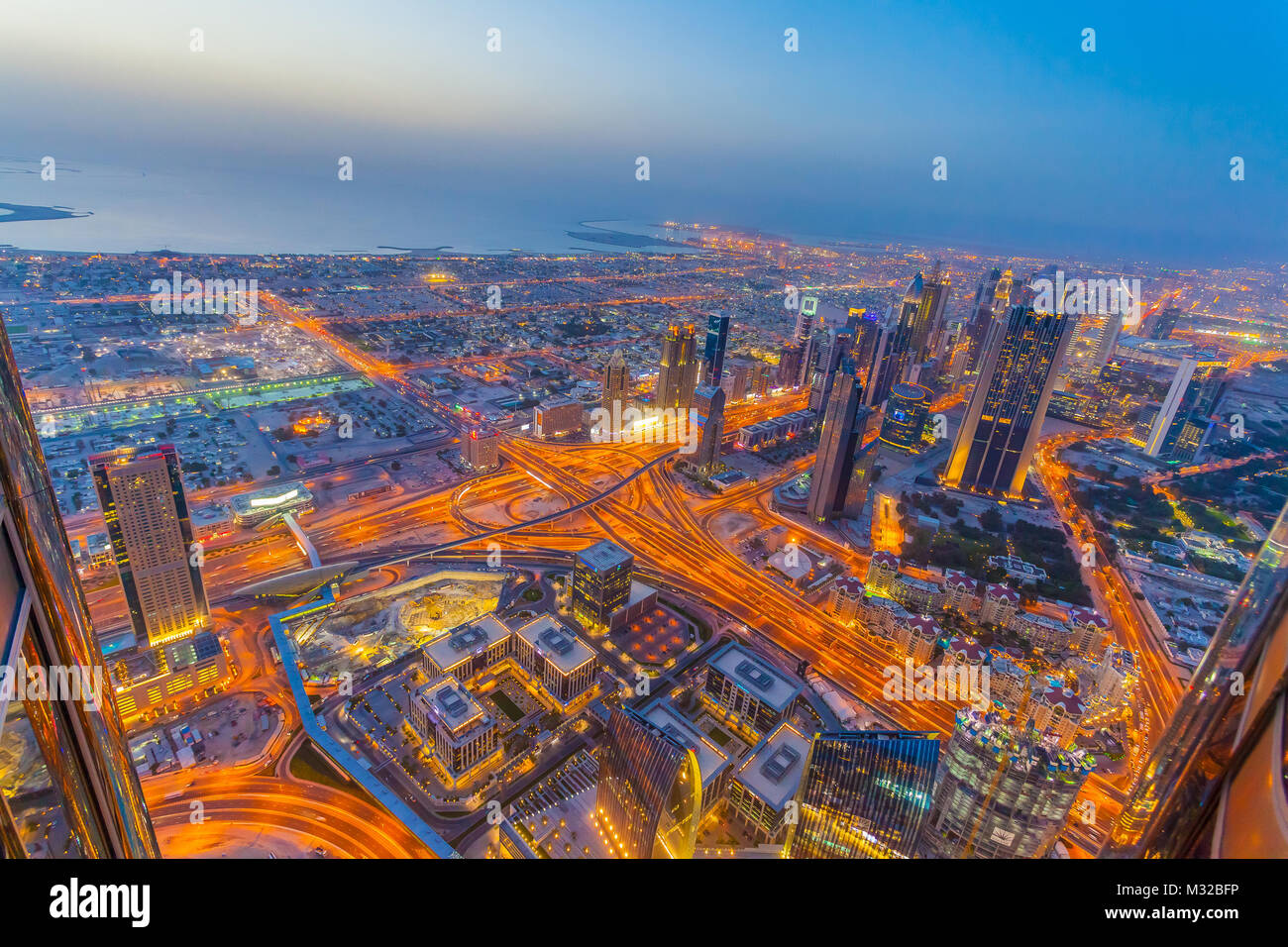 Aerial view of Downtown Dubai at the sunset - Stock Image