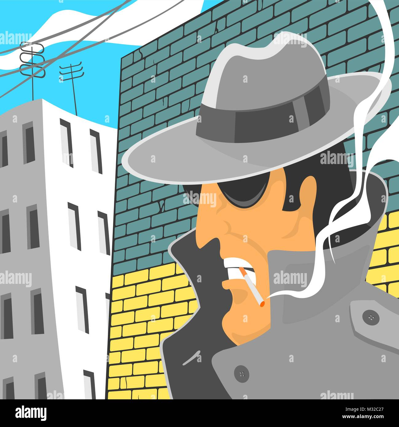 Spy In Hat With Cigarette - Stock Vector