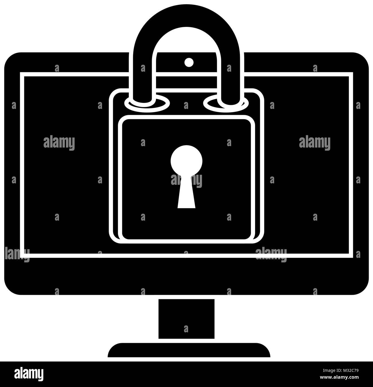 monitor computer with padlock - Stock Image