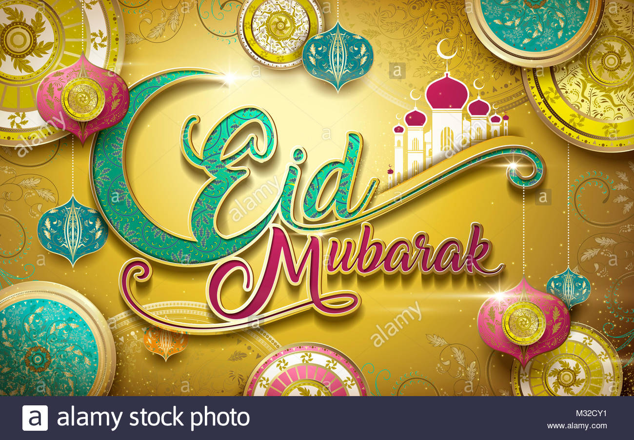 Eid mubarak greeting happy holiday in islamic world with gorgeous eid mubarak greeting happy holiday in islamic world with gorgeous and colorful floral design decoration m4hsunfo