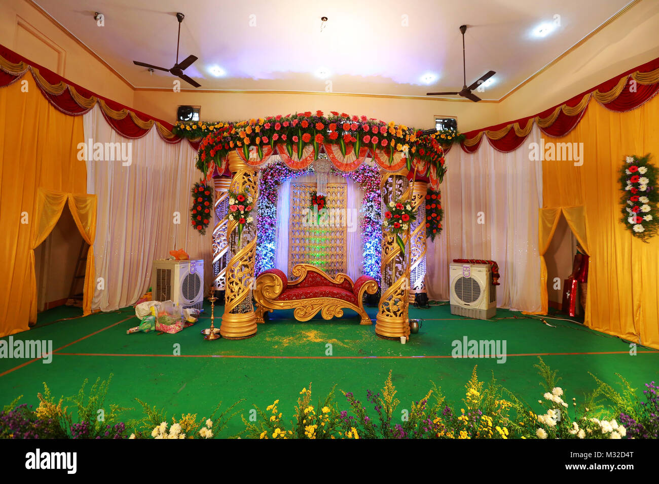 Mehndi Stage Background : Flower wedding stage stock photos