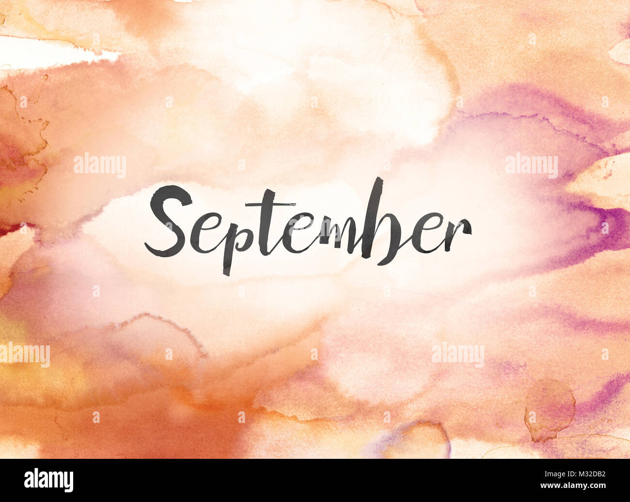 the word september concept and theme written in black ink on a colorful painted watercolor background