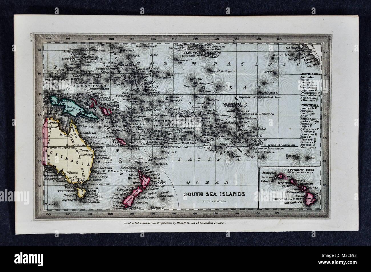 Starling 1834 Map - Oceania - Australia New Zealand Hawaii Polynesia South Pacific - Stock Image