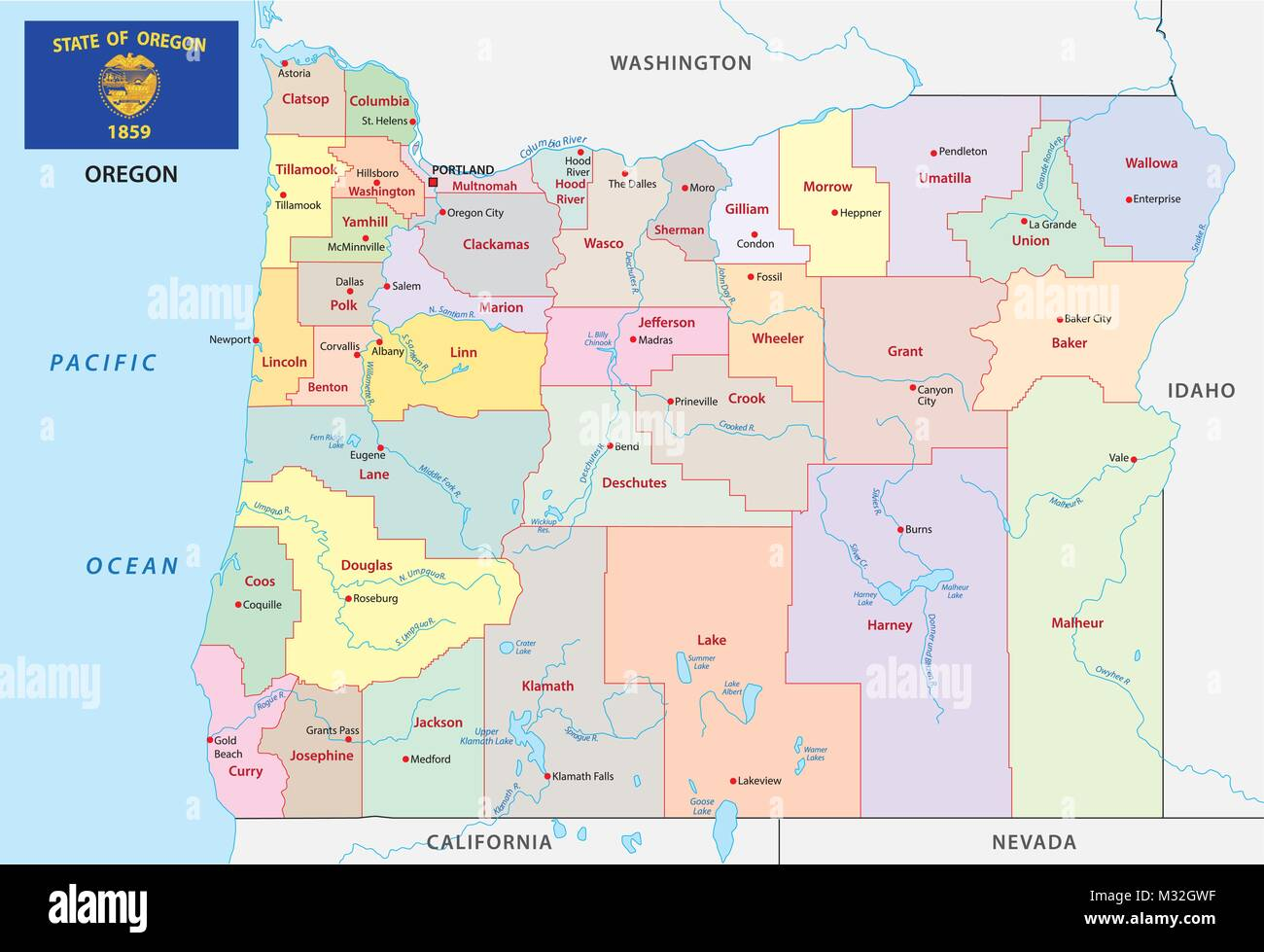 oregon administrative and political vector map with flag - Stock Vector