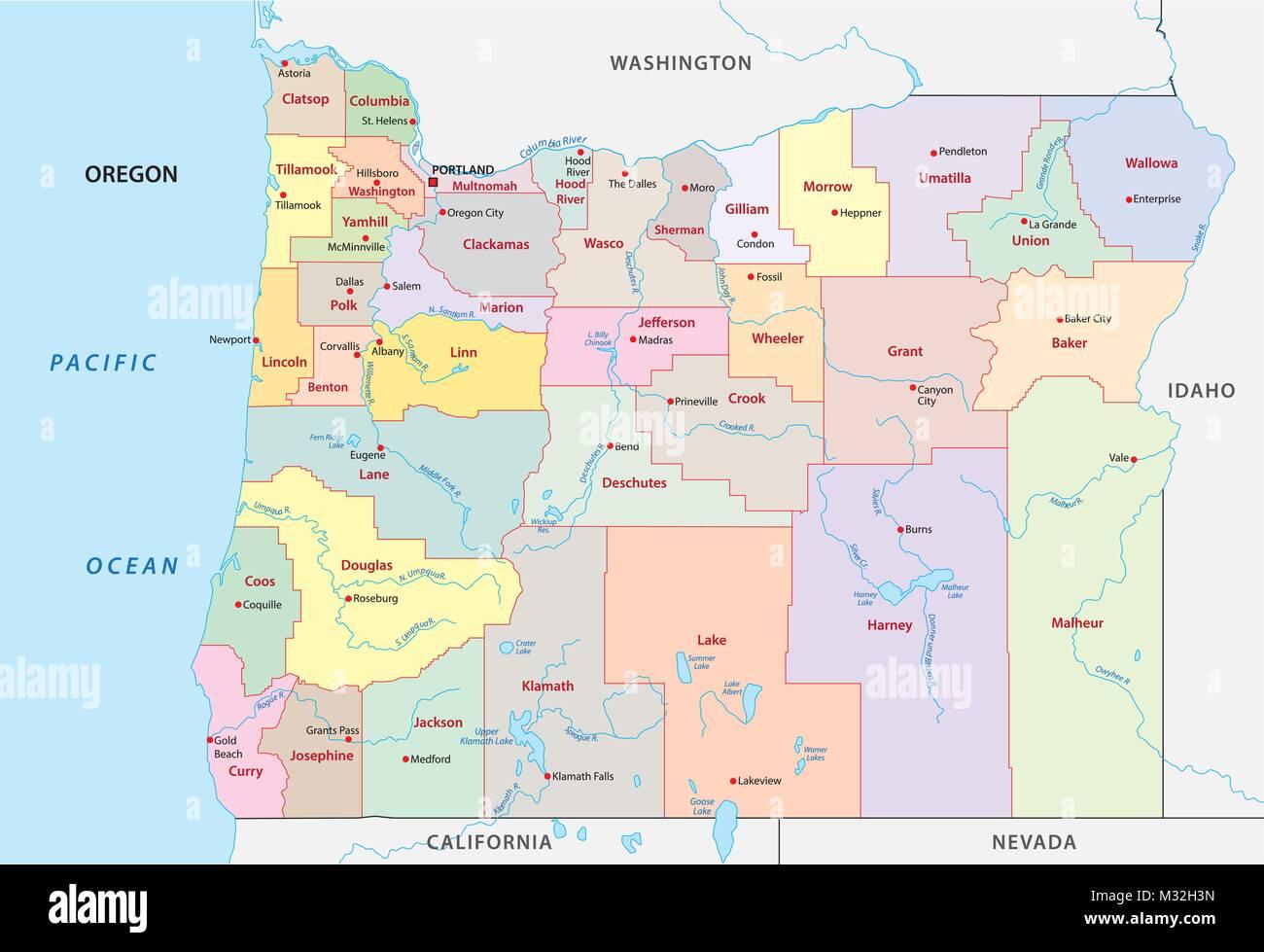oregon administrative and political vector map - Stock Vector