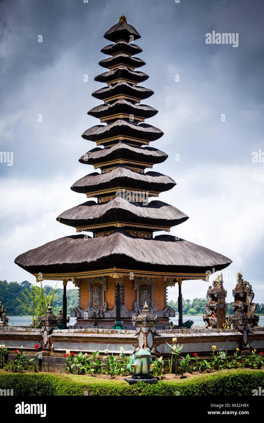 Pura Ulun Danu Bratan, Bali. Hindu temple on Bratan lake. Major Shivaite and water temple Bali, Indonesia. Travel Stock Photo