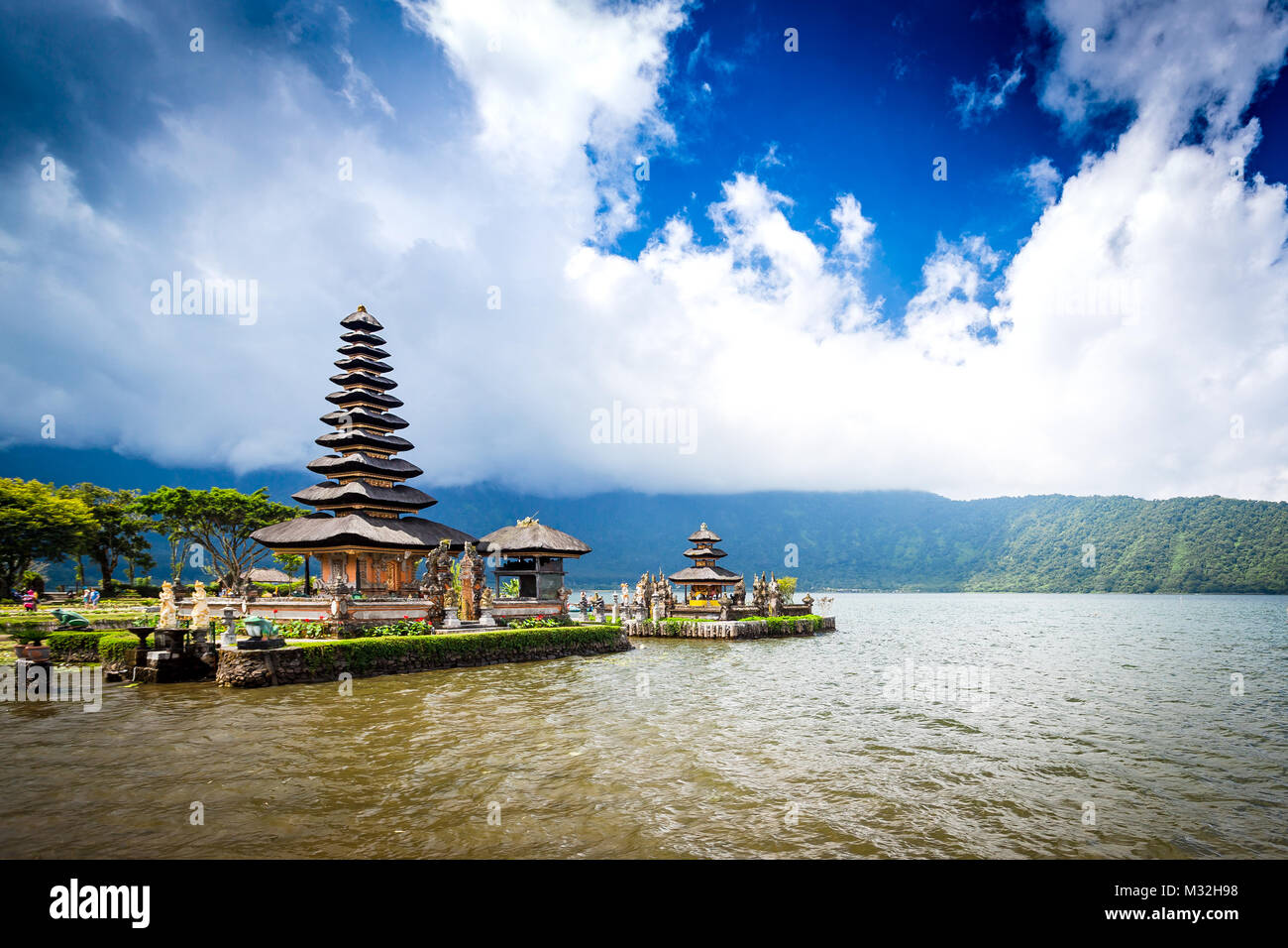 Pura Ulun Danu Bratan, Bali. Hindu temple on Bratan lake. Major Shivaite and water temple Bali, Indonesia. Travel Stock Photo