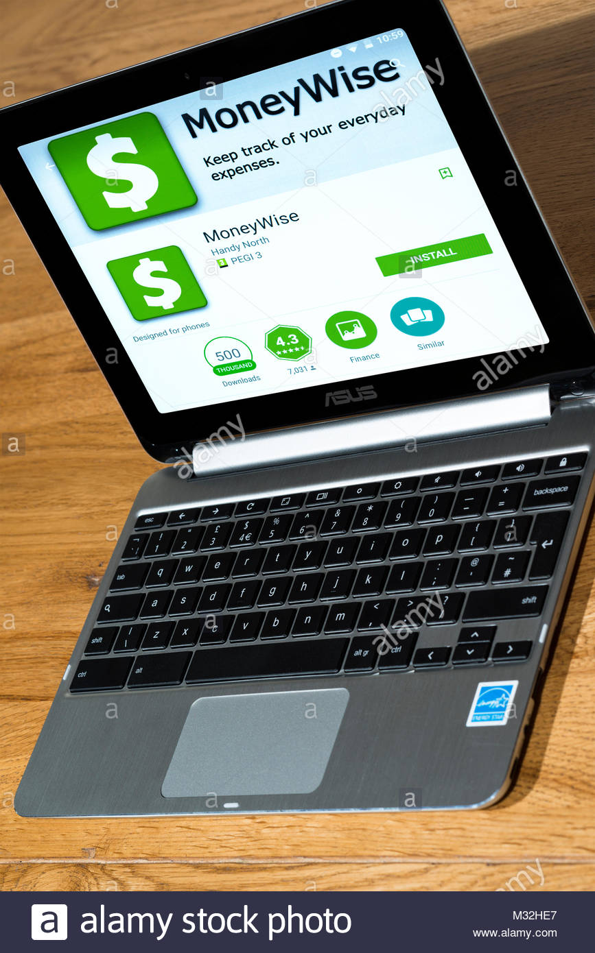 Moneywise app on a Chromebook open on a desk, Dorset, England. - Stock Image
