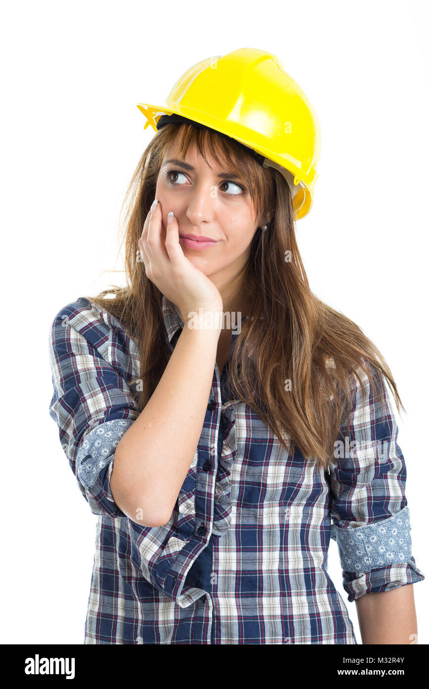 Young Woman Architect Builder Verify Construction Site Work. Isolated Stock  Photo: 174009723   Alamy