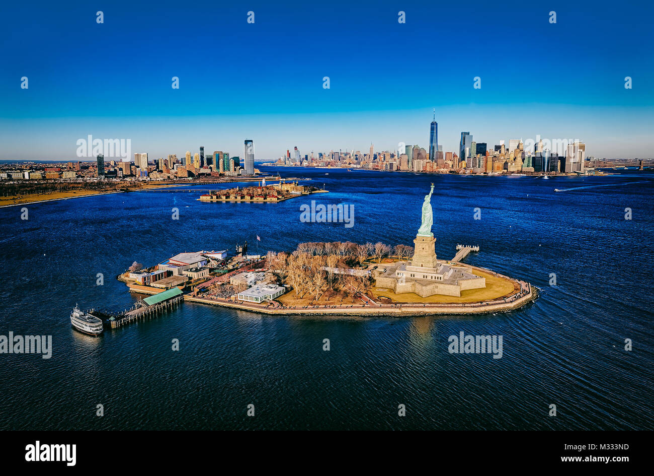 New York Statue of Liberty aerial - Stock Image