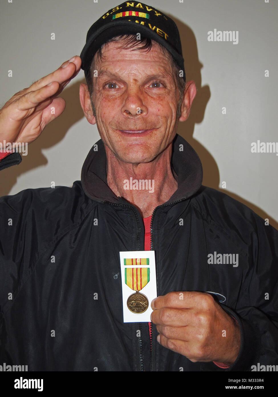 US Navy Vietnam War veteran with Vietnam Service medal - Stock Image