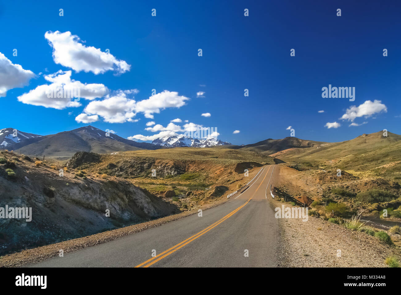 Famous Ruta 40 called also Ruta Quarenta passing through some impressive and strangely shaped mountains in Argentina, - Stock Image