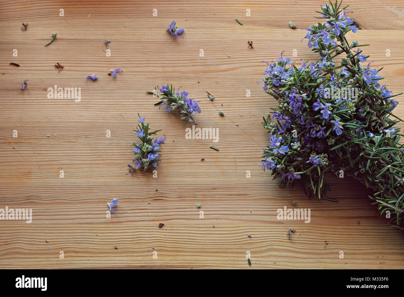 Close up, top shot of fresh Mediterranean herbs bouquet, rosemary on rustic wooden table, selective focus, space - Stock Image