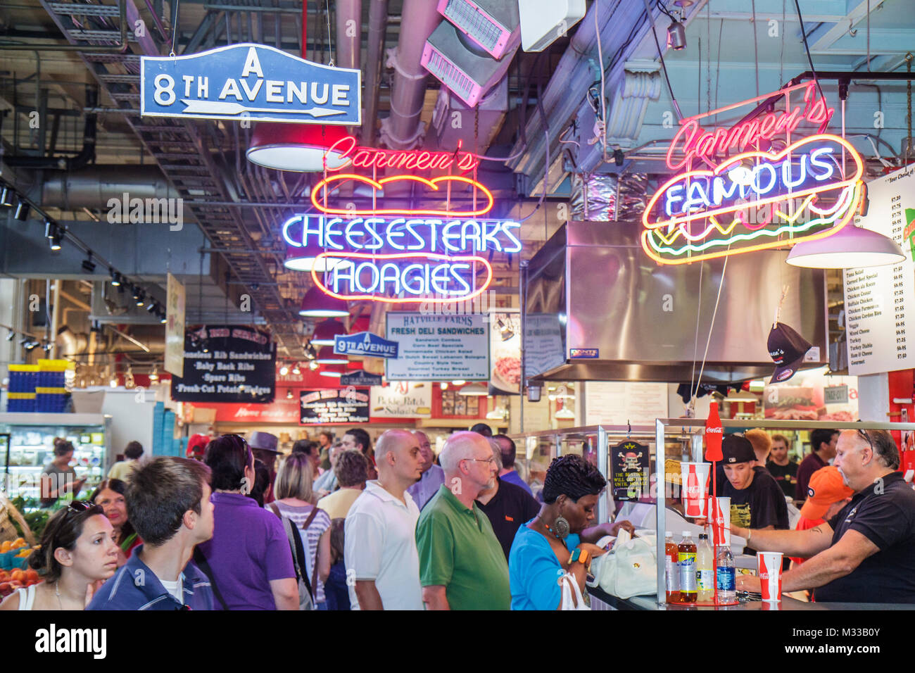 Philadelphia Pennsylvania Reading Terminal Market Center City historic farmers market local food merchant stall - Stock Image