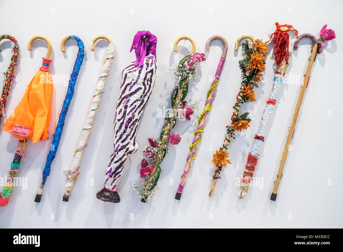 Philadelphia Pennsylvania Philadelphia Museum of Art education department walking stick cane artwork made by legally - Stock Image