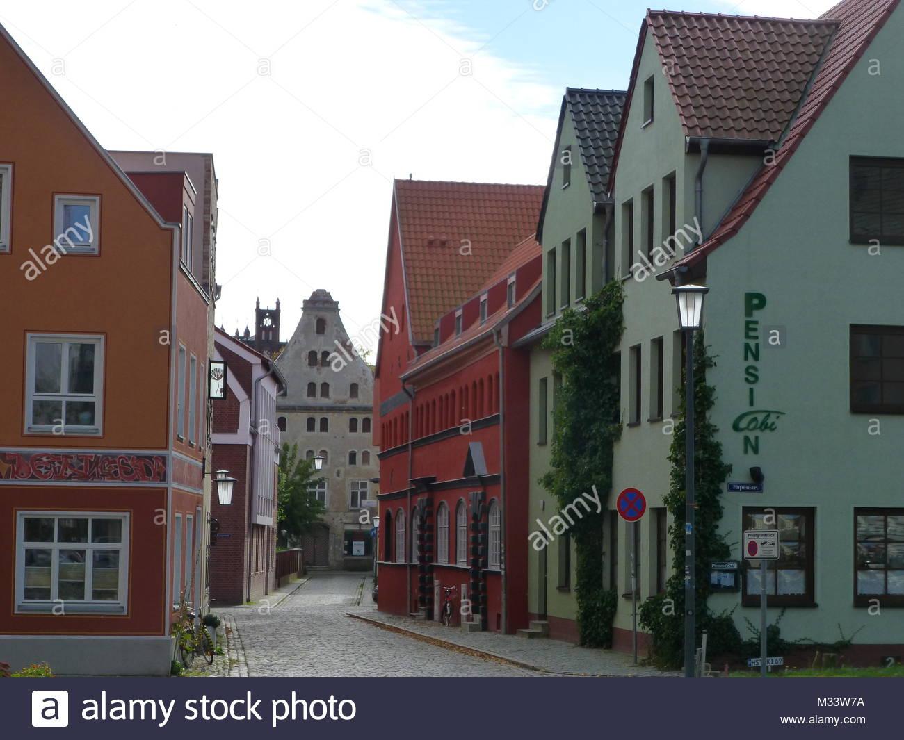 Stralsund - World Heritage,Old Town Street - Stock Image