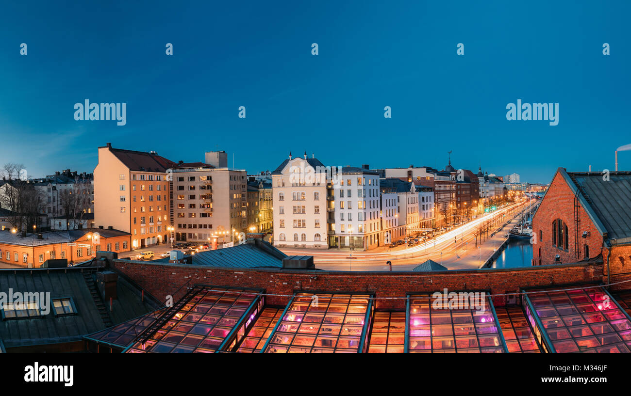 Helsinki, Finland. View Of Pohjoisranta Street And Redone Old Building For Banquet Hall In Evening Illuminations. - Stock Image