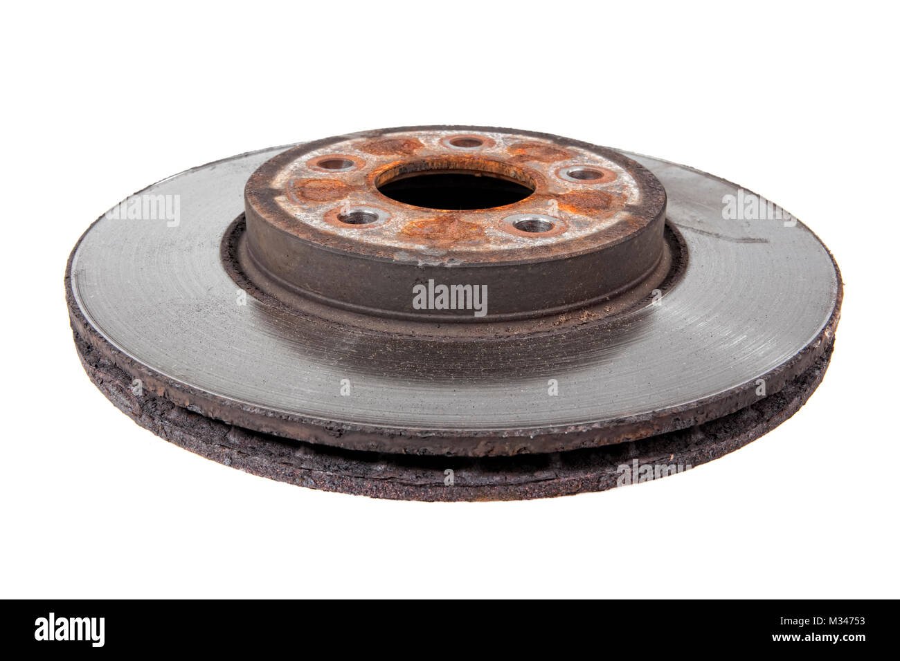 Close-up of an old disc brake on a car - Stock Image