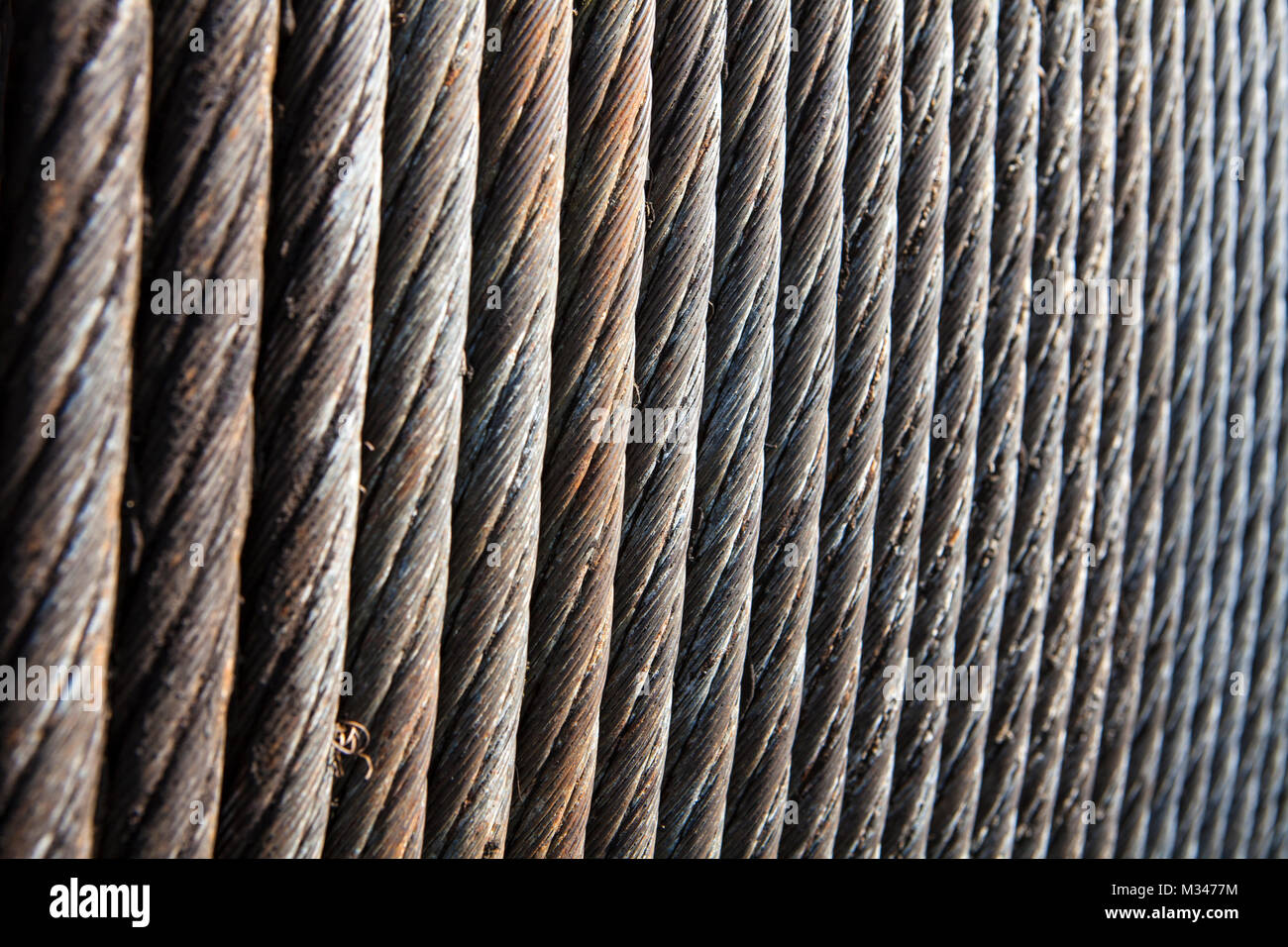 Close-up of old steel cable - Stock Image