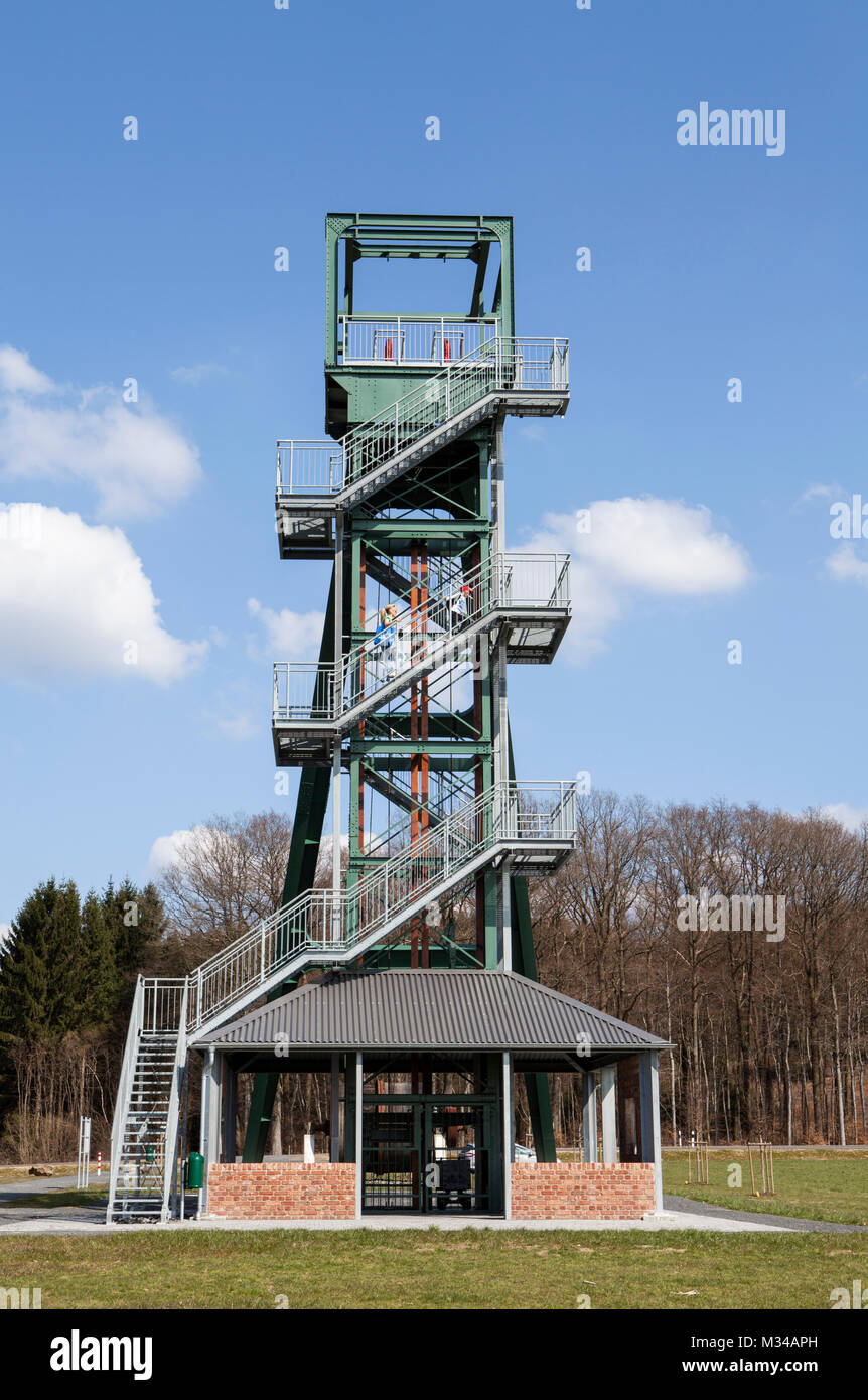 The Barbaraturm tower, historical shaft tower, Steinberger Höhe, Malberg, Rhineland-Palatinate, Germany - Stock Image