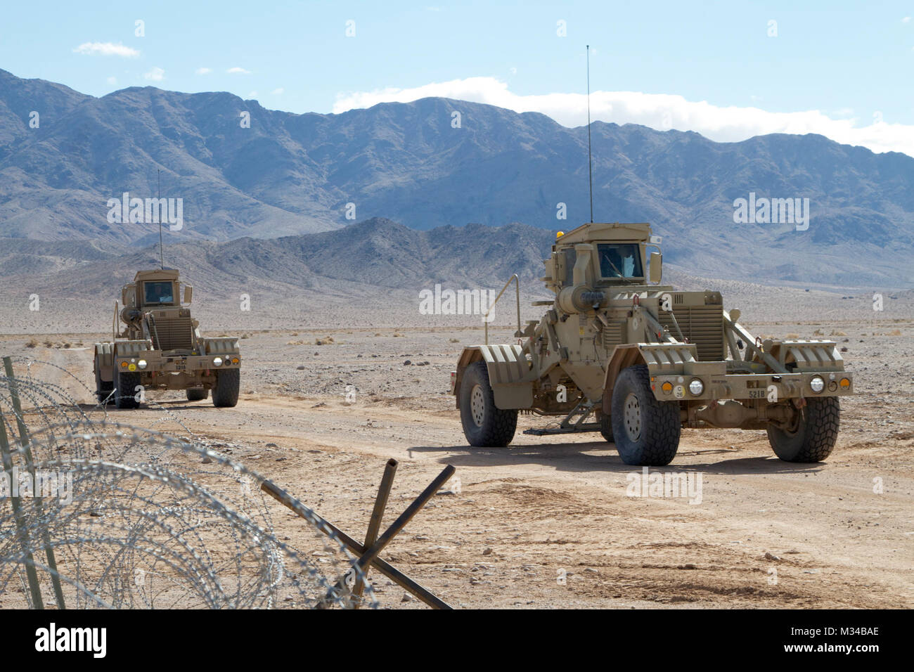 Two Husky (Vehicle Mounted Mine Detection) Systems with B Co., 6th Brigade Engineer Battalion, 4th Brigade Combat - Stock Image