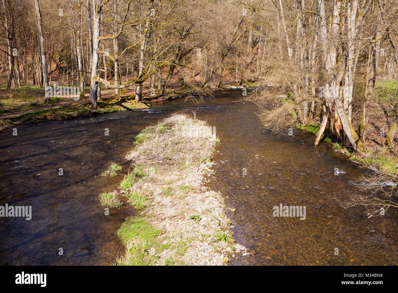 Old bridge near Streithausen, Nister river, Westerwald district, Rhineland-Palatinate, Germany, Europe - Stock Image