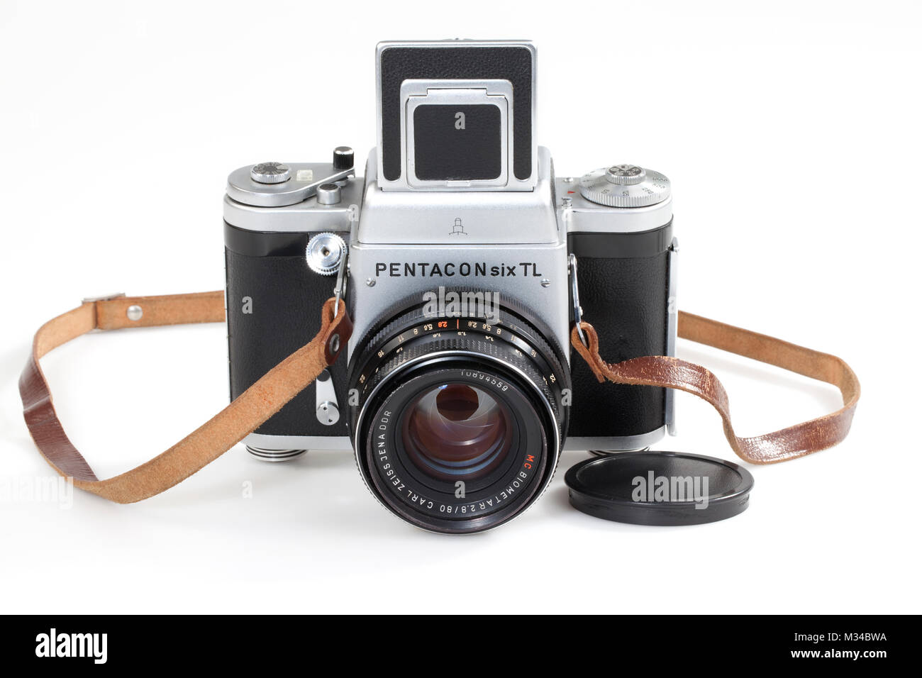Old 6x6 medium format camera, Pentacon Six, DDR, about 1970 - Stock Image
