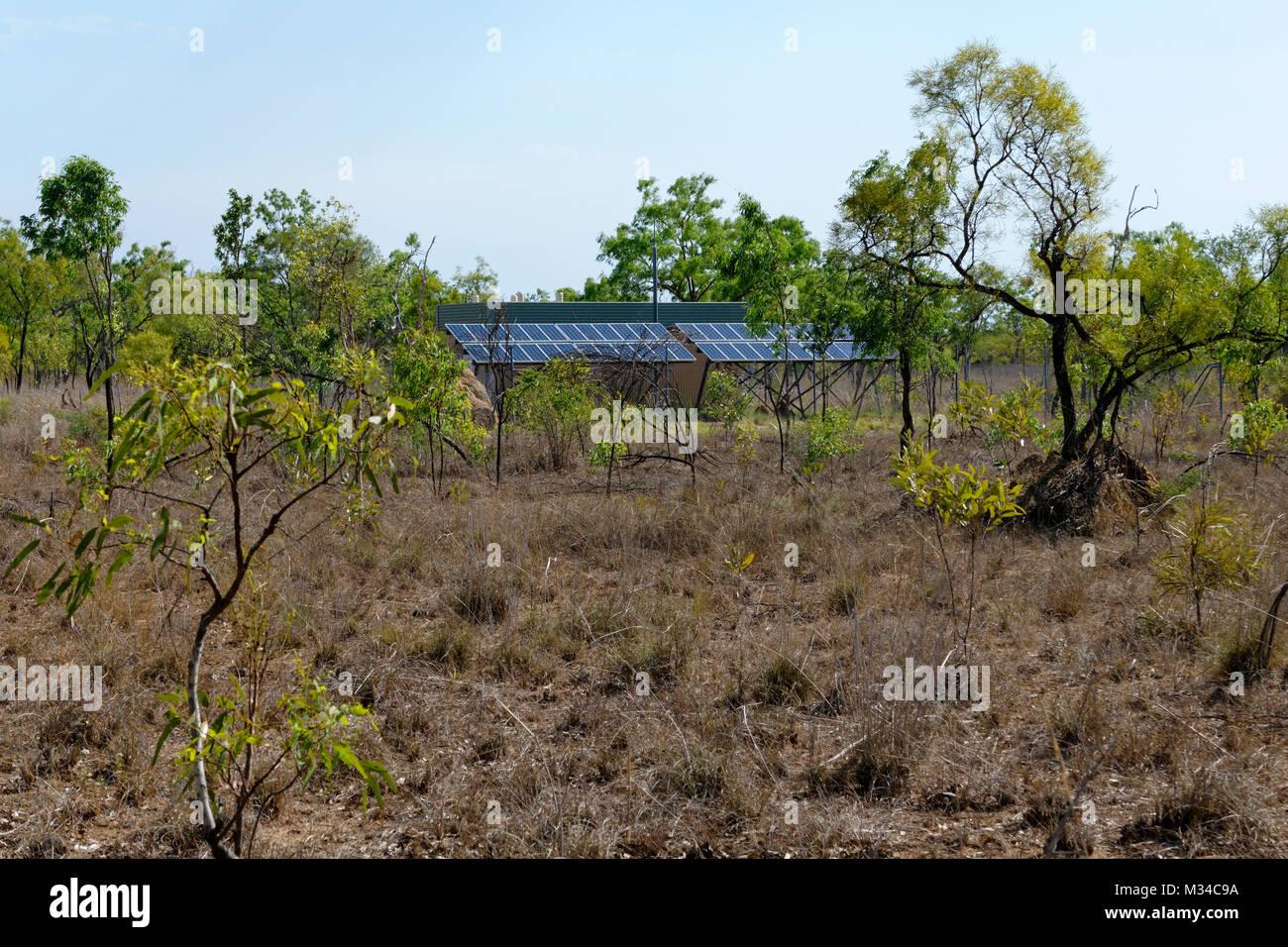Solar panels in Australian outback,  Derby, West Kimberley, Western Australia - Stock Image