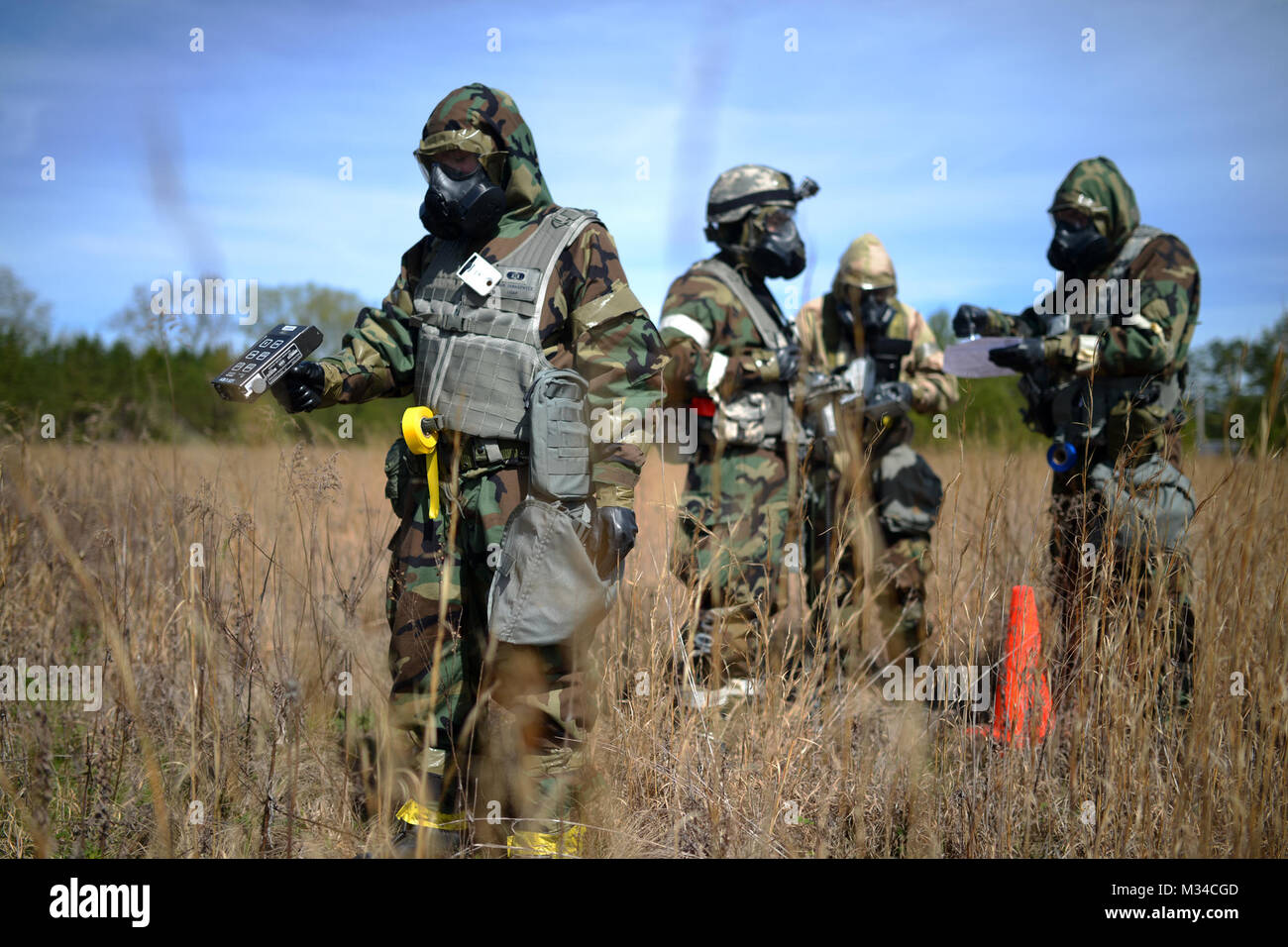 PERRY, GA - Air National Guard Emergency Managers search for radioactive material during a Global Dragon training - Stock Image