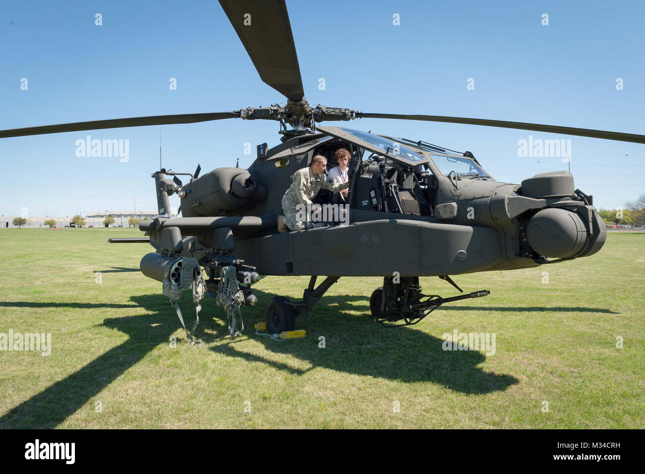 Lt. Col. Chris Miletello, Airspace Manager with the 36th Infantry Division, Texas Army National Guard, shows Ian - Stock Image
