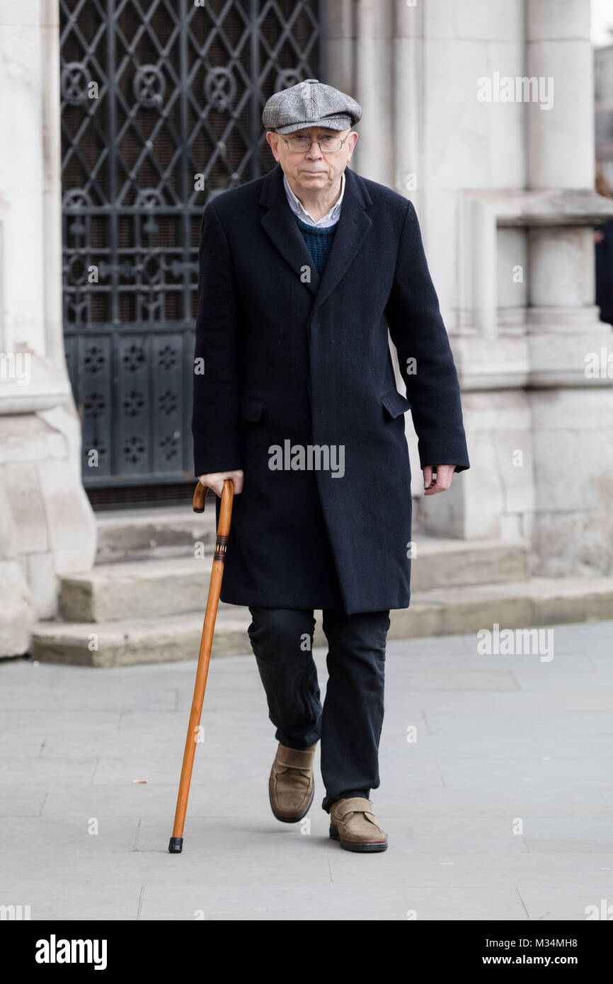 London, UK. 8th February 2018. Class War founder and veteran anarchist, Ian Bone arrives at the High Court in London. - Stock Image